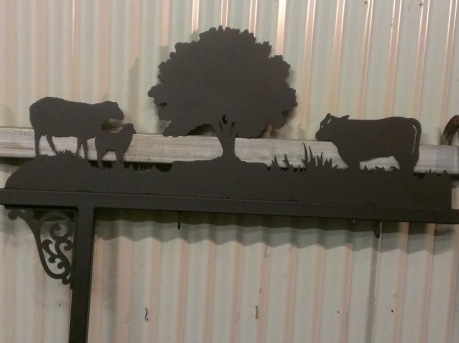 Farm Sign Post with Sheep and Cattle. Hang your individual farm name under this farm sign post/