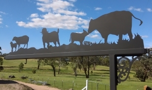 Metal Art - Sign Post Cow, Calf Goat and Sheet