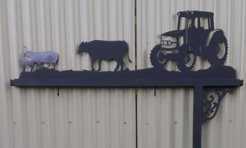 Metal Art - Tractor Cow Sheep Sign Post
